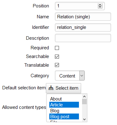 Adding a new Relation (single) Field with allowed Content Types